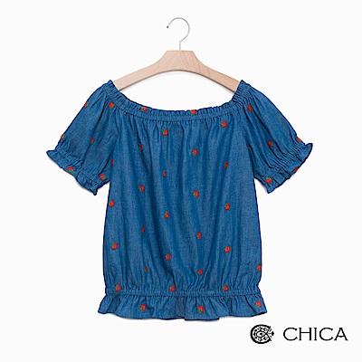 CHICA 夏日野莓鬆緊一字領設計上衣(1色)