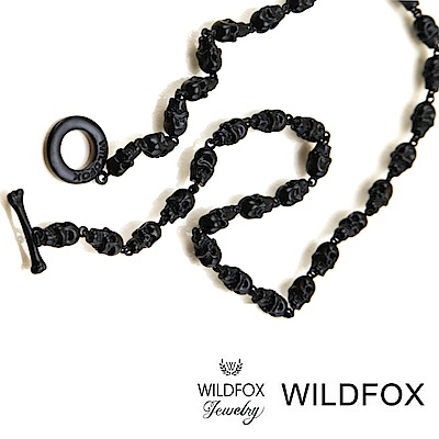 Wildfox Couture 美國品牌 骷髏頭古典黑色長項鍊 多墜款