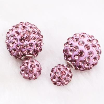 雙面大小珍珠香巴拉球耳針耳環-素-淺紫ZARATA