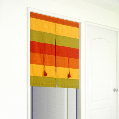 布安於室-色塊純棉中開式短門簾-紅橘色系