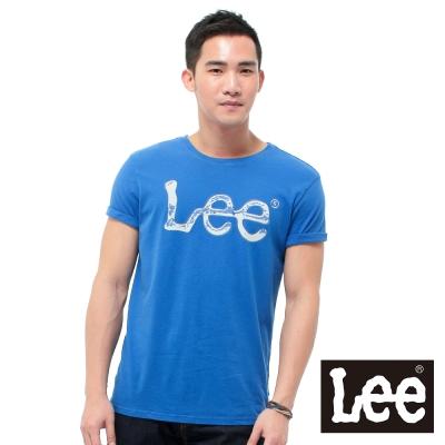 Lee 短袖T恤 灰色LOGO噴漆印刷 -男款(寶藍)