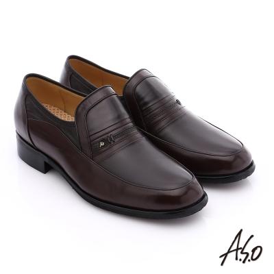 A.S.O 超輕雙核心 柔軟真皮直套式奈米紳士鞋 咖啡色