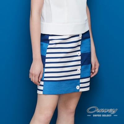 OUWEY歐薇 輕俏拼接條紋A字短裙(藍)