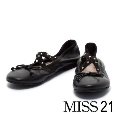 娃娃鞋 MISS 21 復古甜心芭蕾羊皮娃娃鞋-黑