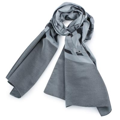 ARMANI COLLEZIONI 經典虛線大LOGO絲質圍巾-灰色