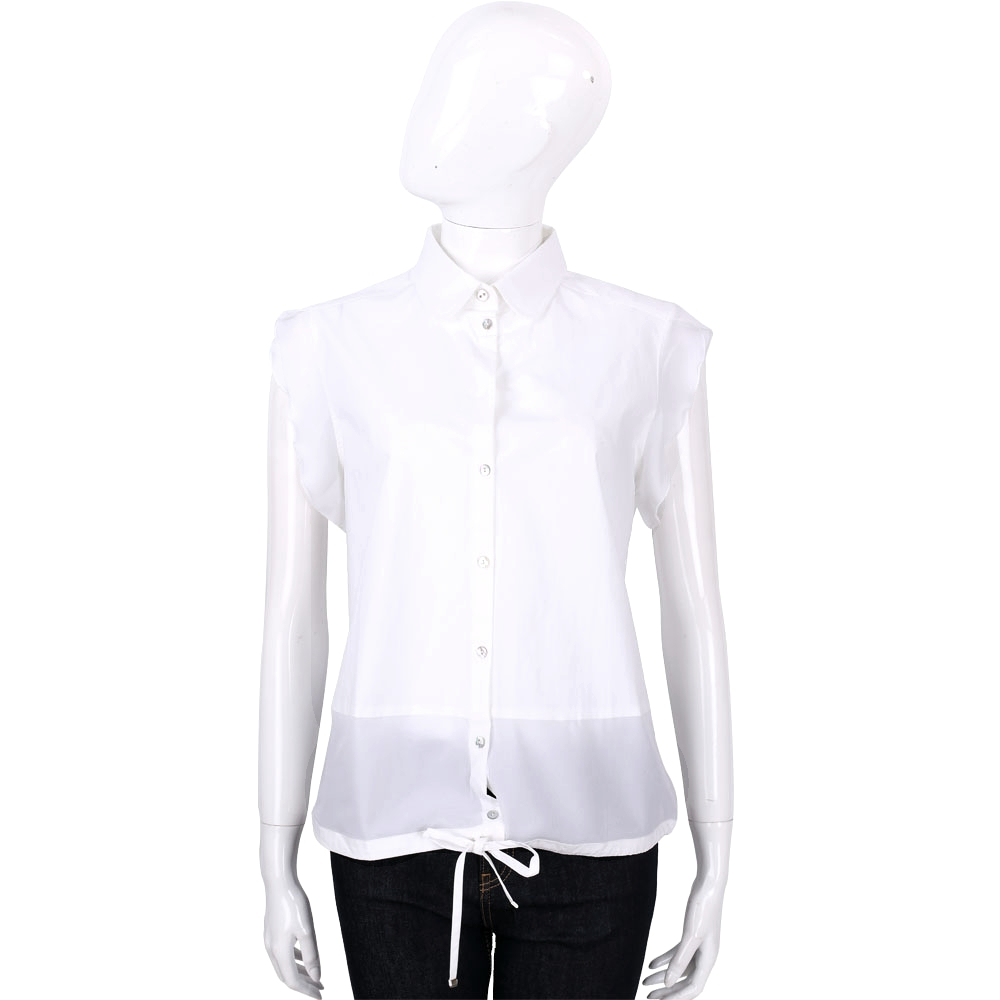 MARELLA 白色抽繩綁帶荷葉袖排釦上衣