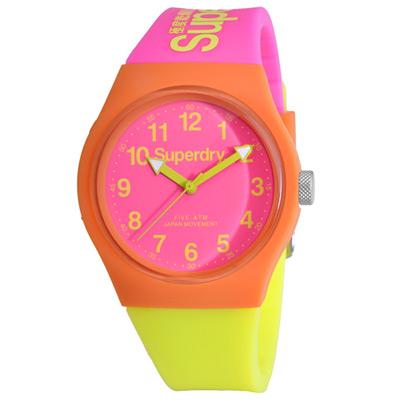 Superdry 極度乾燥 多彩 矽膠 運動腕錶-桃紅x黃帶/桃紅面/37mm