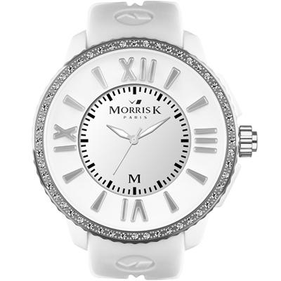 MORRIS K「獨一無二」晶鑽限量錶款-白/50mm