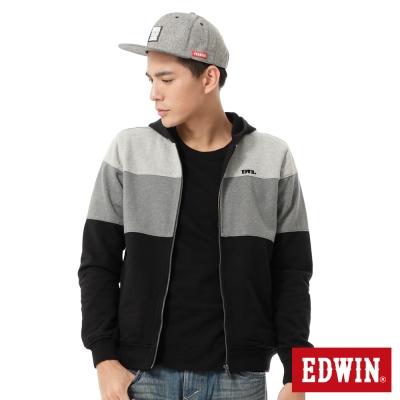 EDWIN-經典剪接配色連帽拉T-男款-黑色