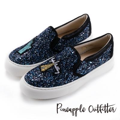 Pineapple Outfitter 耀眼時尚  獨家設計刺繡亮片厚底鞋-紐約藍