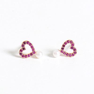 微醺禮物 正韓 鍍K金銀針 鏤空愛心 連結小珍珠 可愛 簡約 亮眼 耳針 耳環