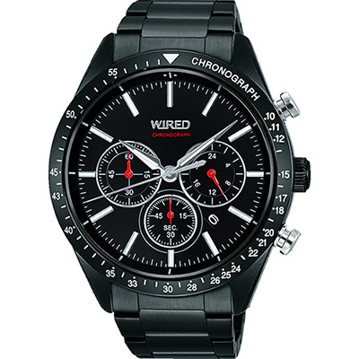 WIRED 東京潮流三眼計時腕錶(AY8005X1)-黑/46mm