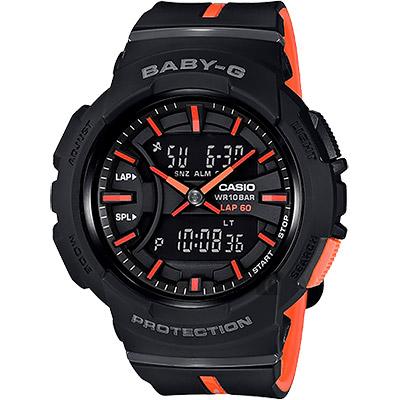 CASIO卡西歐 Baby-G 慢跑手錶-橘黑/46.4mm