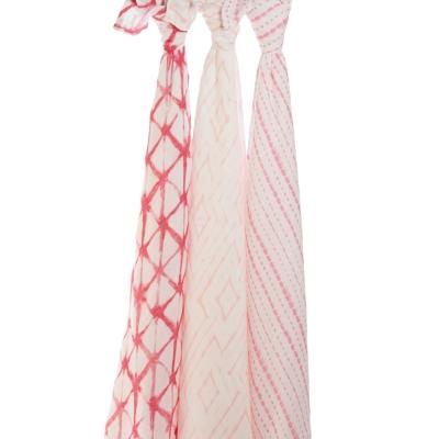 【美國aden+anais】新生兒絲柔(竹纖維)包巾3入-莓紅印染系列AA9214