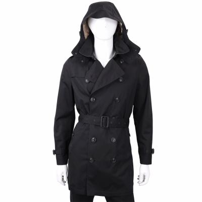 BURBERRY 可拆式連帽棉麻混紡中長版風衣(男款/黑色)