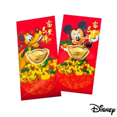 Disney迪士尼系列金飾-黃金元寶紅包袋-迪士尼家族+福氣高飛款