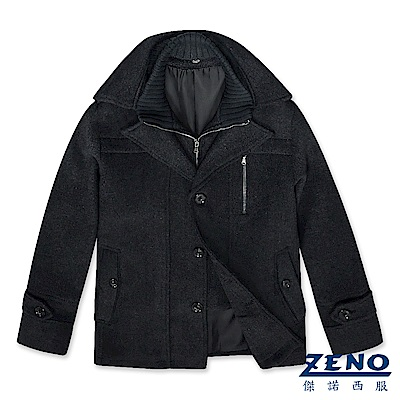ZENO 排扣翻領假二件式毛呢大衣‧灰色M-3L