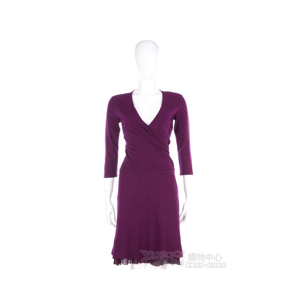 SCERVINO 紫色V領七分袖款洋裝