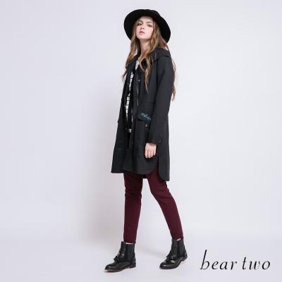 beartwo素面側邊織帶設計合身長褲(二色)