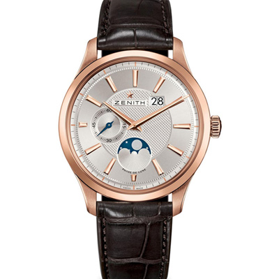 ZENITH Captain Moonphase 18K玫瑰金月相腕錶-40mm