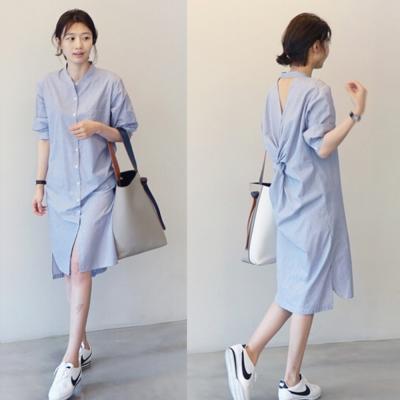 La Belleza露背套頸扭結藍色條紋長版襯衫洋裝