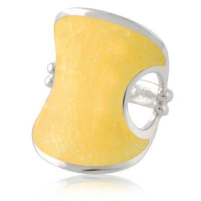MONT BLANC 萬寶龍 鵝黃色弧形寬版純銀戒指-52號