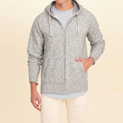 HCO Hollister 經典刺繡海鷗素色連帽外套-灰色