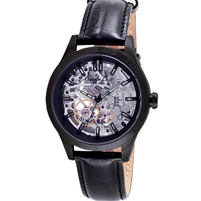 Kenneth Cole 簡約質感鏤空皮革機械錶-銀X黑/43mm