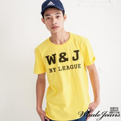 WHALE JEANS 男款情侶暢銷精選素色W&J水洗短T-2色
