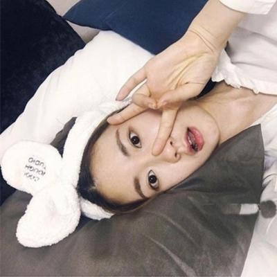 梨花HaNA-韓國她很漂亮閔夏莉超Q字母兔耳髮帶洗臉頭帶