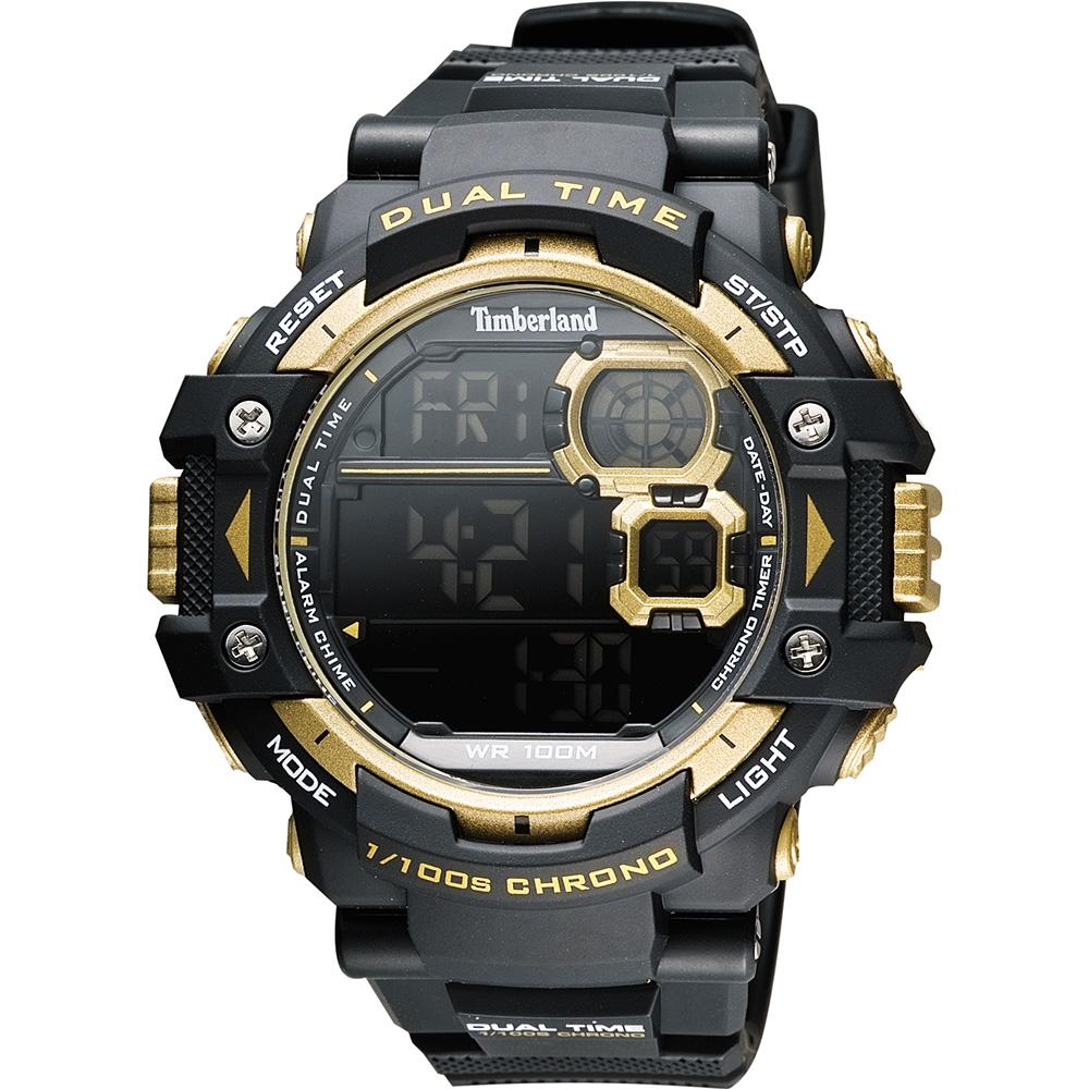 Timberland TUXBURY系列多功能數位腕錶-黑金52.5mm