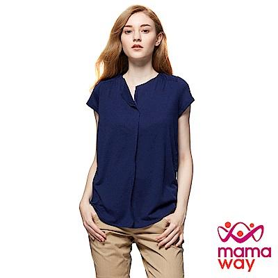mamaway媽媽餵 後剪接抽皺燒花孕婦裝哺乳上衣(共2色)