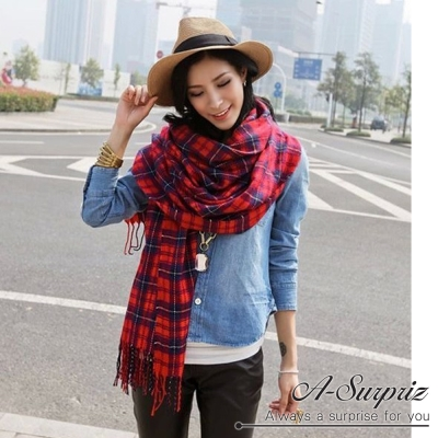 A-Surpriz 英倫格紋加大針織厚圍巾(紅)