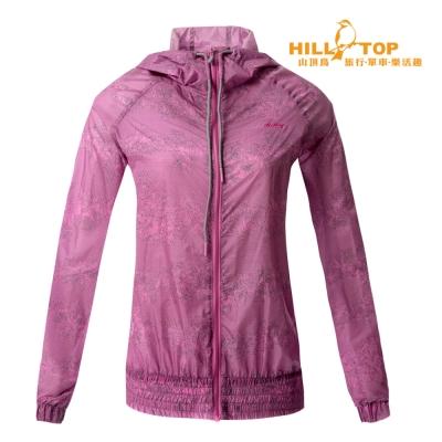 【hilltop山頂鳥】女款超輕量超潑水外套S02FB2熱粉紅底黑印花