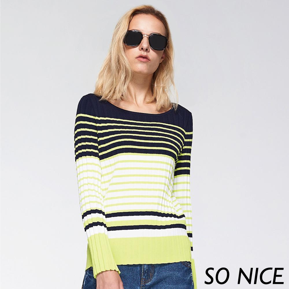 SO NICE時尚撞色條紋針織上衣