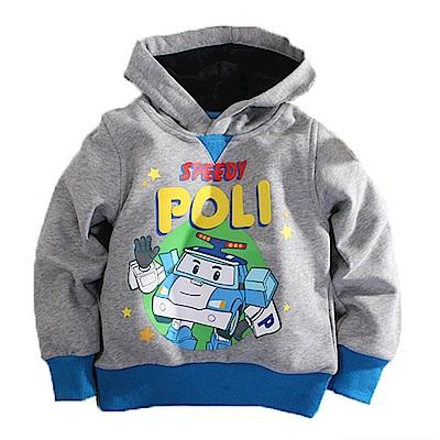 POLI厚刷毛連帽長袖T恤 灰 k60553