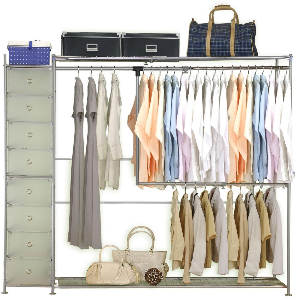 巴塞隆納-雙層雙桿伸縮衣櫥附抽屜櫃 (無防塵)