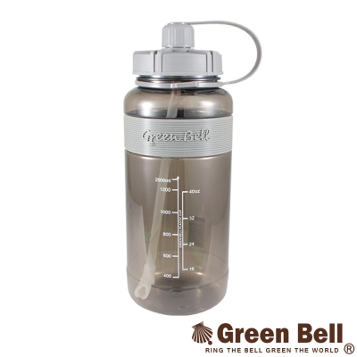 GREEN BELL綠貝超止滑彈跳吸管太空水壺V代2000ml(灰)