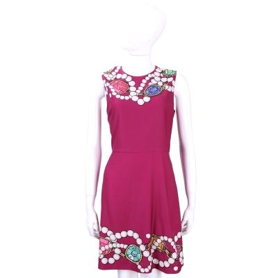 BOUTIQUE MOSCHINO 桃紅色珠寶圖印無袖洋裝