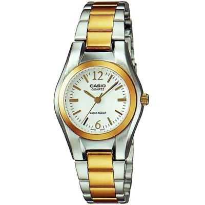 CASIO 富豪金銀時尚指針女錶(LTP-1253SG-7A)-白面