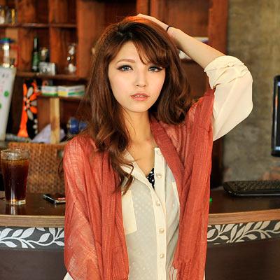 Aimee-Toff-巧心柔棉素色流蘇圍巾-紅咖