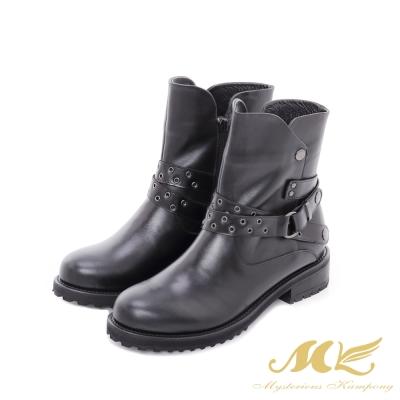 MK-台灣全真皮-西部牛仔皮帶平底粗跟短靴-黑色