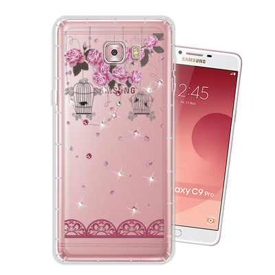 WT Samsung Galaxy C9 Pro 奧地利水晶彩繪空壓手機殼(璀璨...