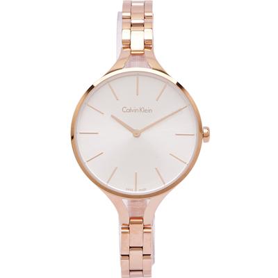 CK Calvin Klein優雅完美女性手錶(K7E23646)-銀面X玫瑰金/36m