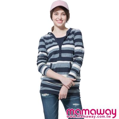 孕婦裝-哺乳衣-經典款橫紋連帽長版孕哺上衣-共二色-Mamaway