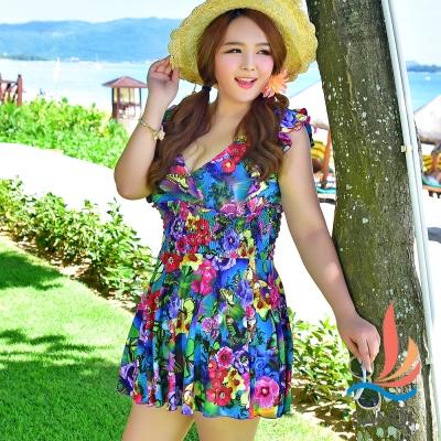 加大尺碼泳衣 熱帶花朵連身泳裝(彩3L~5L) SANQI三奇