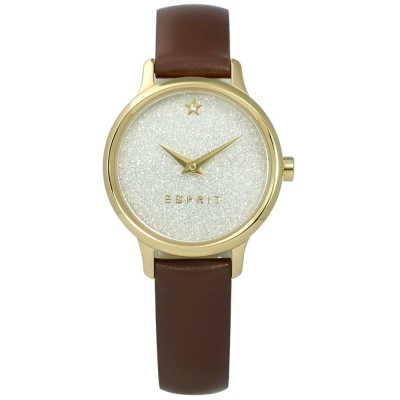 ESPRIT 璀璨星光閃耀質感真皮手錶-銀x金框x咖啡/ 28 mm
