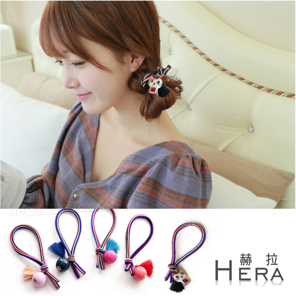 Hera 赫拉 英倫風彩色條紋流蘇球球髮圈/髮束-隨機2入