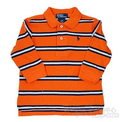 Ralph Lauren橘/深藍/白橫條長袖POLO衫