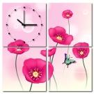 美學365 - 四聯式流行家飾無框藝術掛畫時鐘-花香引蝶-40x40cm